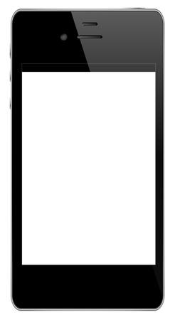 Black Mobile Phone Isolated On White Vector