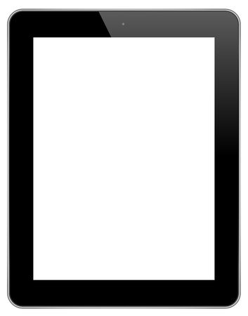 digitized: Black Touch Screen Tablet Isolated On White