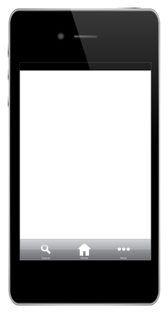 Mobile Phone With Icons (home, search, more) Isolated On White Vector