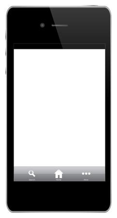 digitized: Tel�fono m�vil con iconos (home, b�squeda, m�s) Aislado En Blanco Vectores