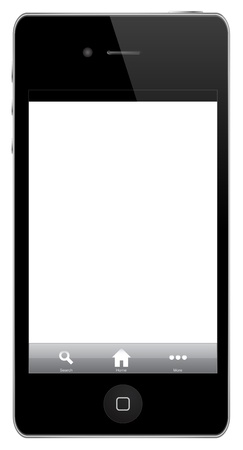 IPhone With Icons (home, search, more) Isolated On White