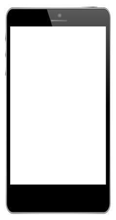 digitized: Tel�fono M�vil Negro Aislado En Blanco Vectores