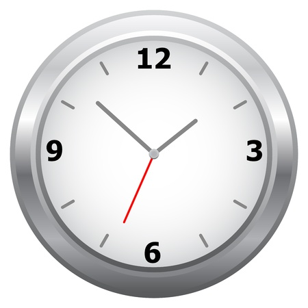 Simple Wall Clock Isolated On White Stock Vector - 18128200
