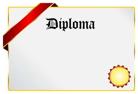 scholarship: Blank Diploma Document With Golden Ribbon Isolated On White