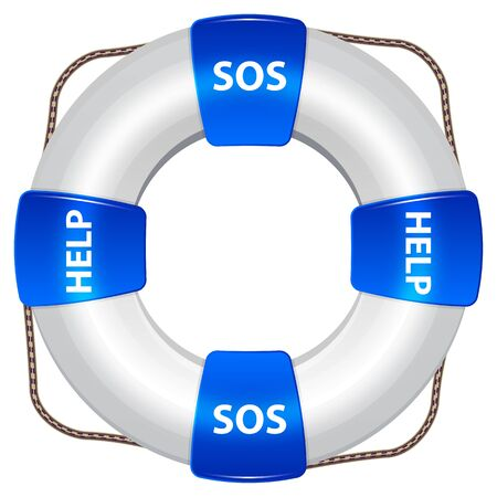 flotation: Blue Life Preserver With Rescue Words