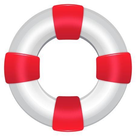 preserver: Red Life Preserver Isolated On White