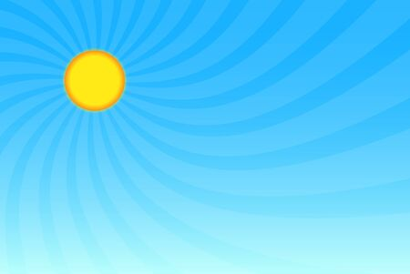 Clear Summer Sky Illustration With Sun And Twisted Rays