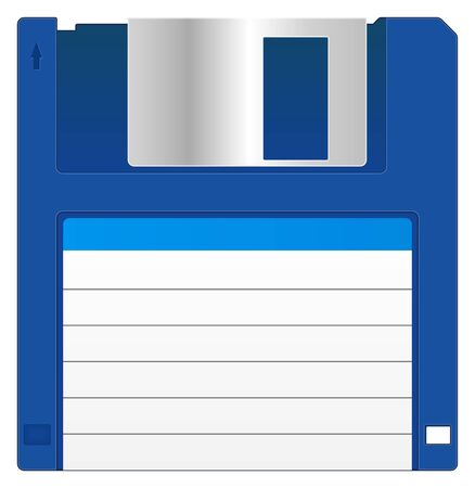 Blue Floppy Disk With Blank Label Vector