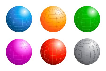 latitude: Six Different Colored Business Globes With Longitude And Latitude Lines Isolated On White