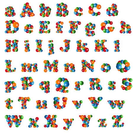 Alphabet (Lower and Uppercase Letters) Made Of Colored Bubbles Isolated On White Stock Vector - 18159553