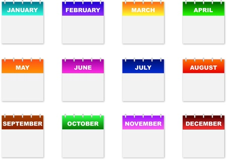 Monthly Calendar Icons On A White Background Illustration
