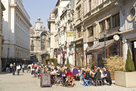 bucharest: Bucharest Old Historical Center : Tourists On Lipscani Street Editorial