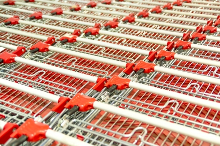 Stack Of Empty Shopping Carts Stock Photo - 18177907