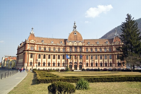 resulted: Palace Of Justice In Brasov, Romania. The construction was completed in 1902 and resulted in a beautiful eclectic palace. Today it houses the county hall, the county council and a number of other institutions.