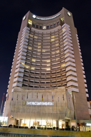intercontinental: The InterContinental Bucharest Hotel At Night. This is a highrise five star hotel situated near University Square, Bucharest, in sector 1 and is also a landmark of the city. It is 77 m tall and has 25 floors, containing 283 guest rooms. Editorial