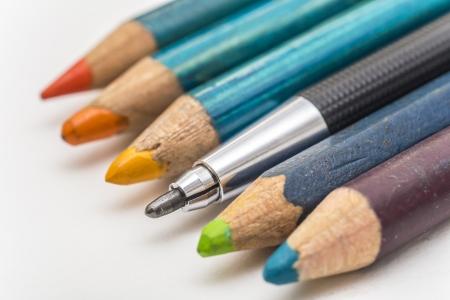 Extreme Closeup Of An Architecture Drawing Pencil  Focus On Tip  Standing Out From A Row Of Coloring Pencils photo