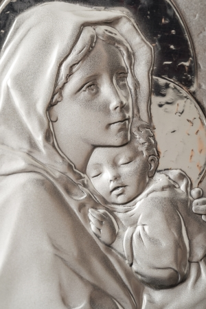 mary and jesus: Icon Portrait Of Virgin Mary And Baby Jesus Stock Photo
