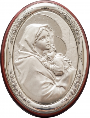 Icon Portrait Of Virgin Mary And Baby Jesus Stock Photo