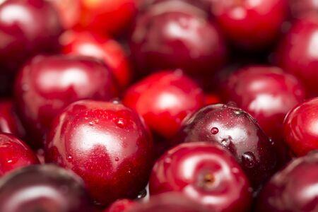 Macro Photo Of Many Fresh Wet Cherries Displayed In A Fruit Market Stock Photo - 18366963