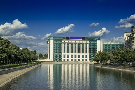 Bucharest National Library Seen From A Bridge Over Dambovita River Stock Photo - 18368048