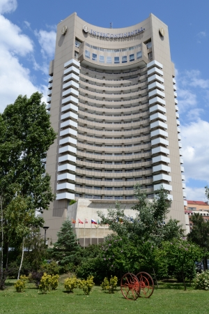 intercontinental: Intercontinental Hotel from Bucharest On A Summer Day With Blue Sky Stock Photo