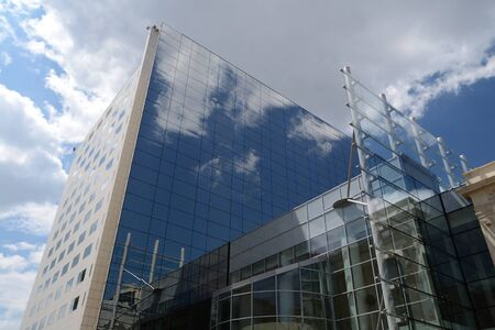 Modern Office Building Reflecting The Sky In Central Bucharest, Romania Stock Photo - 18410597