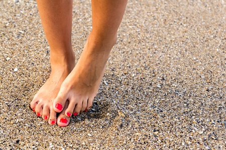 hydrophobia: Girl With Nice Feet Has Hydrophobia  Fears Of Water  Stock Photo