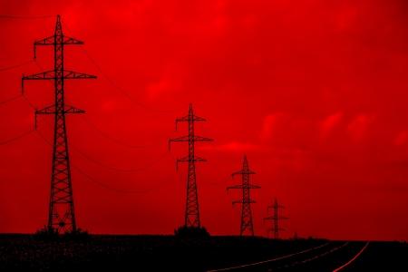 Danger  Electricity  Electric Power Transmission Lines Concept