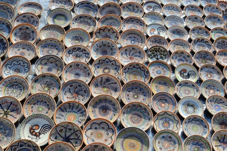 Traditional Romanian Plates Exposed For Sale In Sibiu, Romania