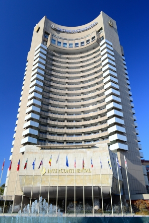 intercontinental: The InterContinental Bucharest is a highrise five star hotel situated near University Square, Bucharest, in sector 1 and is also a landmark of the city  It is 77 m tall and has 25 floors, containing 283 guest rooms  Editorial