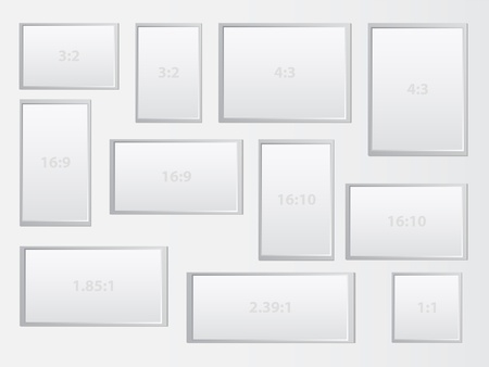 displays: Blank Frames Representing The Most Common Aspect Ratio Of Different Displays  Computer Display, Mobile Phones, Tablets, Movie Screens   The aspect ratio of an image describes the proportional relationship between its width and its height