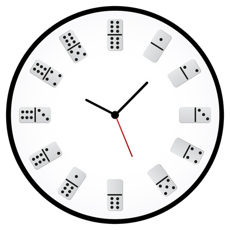 Minimalist Clock With Dices Indicating The Hours Stock Vector - 18594047