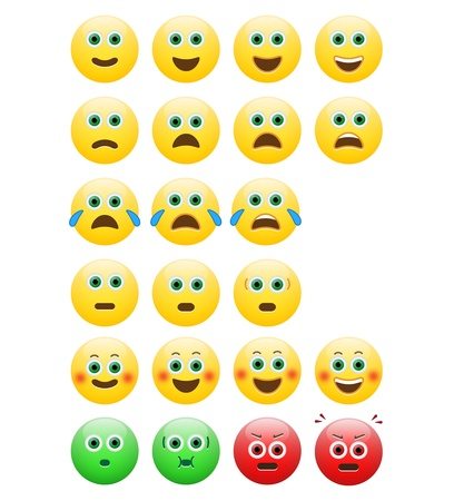Pack Of Emoticons With Different Expressions Vector