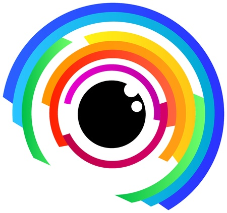 minimalist: Abstract Human Eye Illustration In Rainbow Colors Illustration