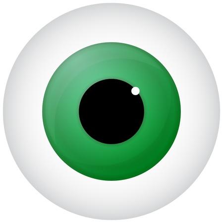 fovea: Green Eye Isolated On White