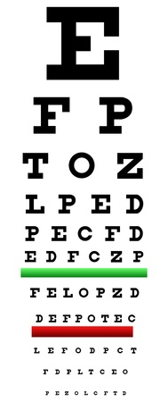eye exam: Eye Chart Illustration Also Called Snellen Chart. It Is An Eye Chart Used For Measuring Visual Acuity
