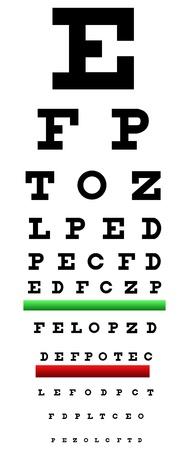 miopia: Eye Chart Illustrazione chiamato anche tabella di Snellen. E 'un occhio grafico usato per misurare l'acuit� visiva Vettoriali
