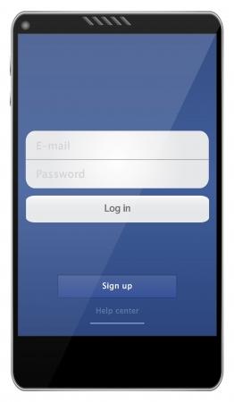 digitized: Tel�fono m�vil con interfaz Web Medios Sociales Vectores