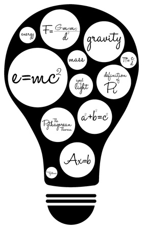 theorem: Light Bulb Illustration With Famous Mathematical Equations Illustration