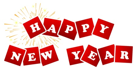 Happy New Year Sign With Fireworks On A White Background Stock Vector - 18625168