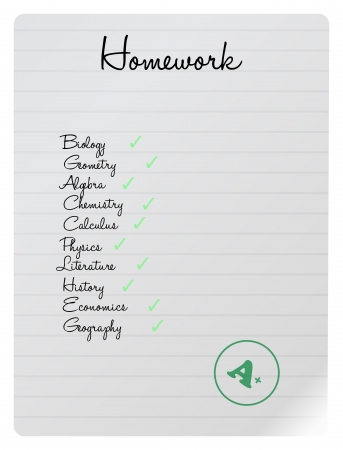 All Done Homework List Courses On A Notebook Sheet Stock Vector - 18625249