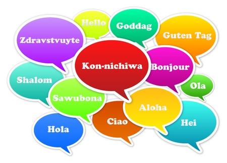 translate: Ilustraci�n De Burbujas Hola en 13 idiomas Foto de archivo