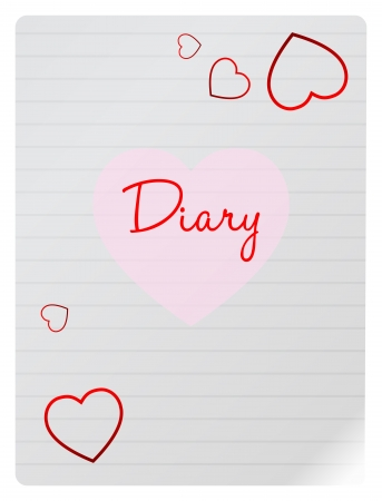 Teen Girl Diary Page With Hearts Stock Vector - 18625317