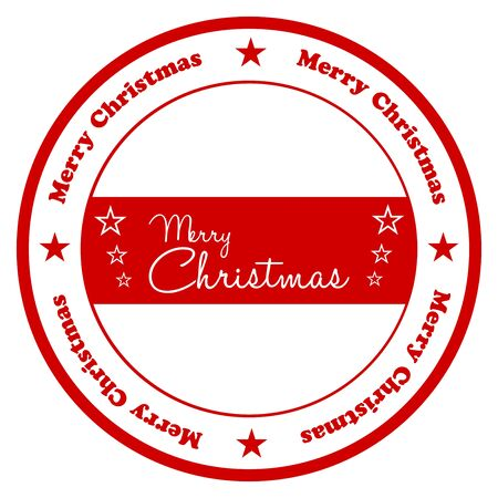 Merry Christmas Stamp Isolated On White Vector
