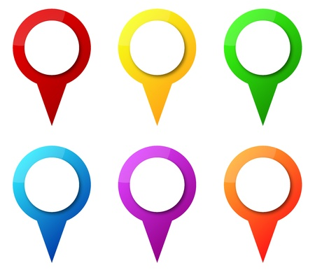 localization: Illustration Of Colorful Map Pointers With Blank Circle Tag
