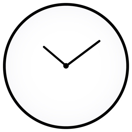 Minimalist Clock Isolated On White Stock Vector - 18625291