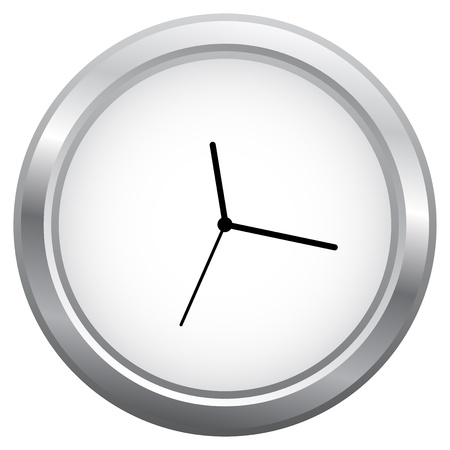Minimalist Clock Isolated On White Stock Vector - 18625297