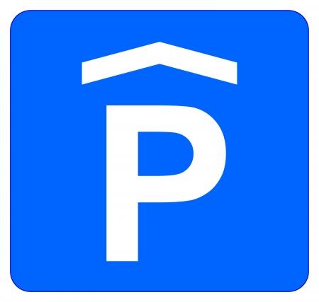se�al parking: Estacionamiento Cubierto signo aislado en blanco