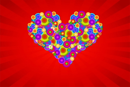 Retro Heart Made Of Multicolored Circles On A Red Background With Rays Stock Vector - 18625379