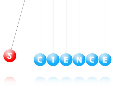 newton cradle: Illustration Of Newton Cradle With Science Word Written On The Balls Illustration